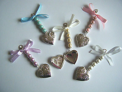 Bride Memory Heart Photo Locket Clip On Charm With Pearls & Crystals
