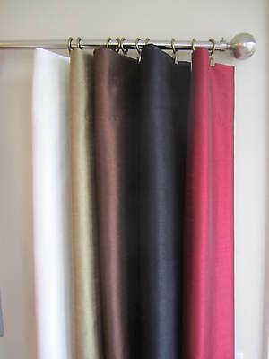 Faux Silk Window Curtain Panels  W/ Lining, NEW, 2 Panels Per Set