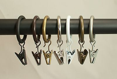 "Urbanest 8 PK Curtain Drapery Rings w/ Clips, 1"" Inner Dia.Fits up to 3/4"" rod"