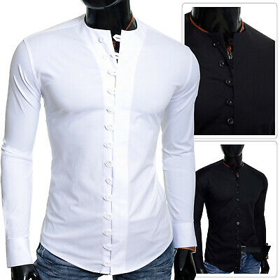 Mens Casual Shirt Crew Neck Collar Slim Tight Fit Stretchy Cotton Fitness Summer