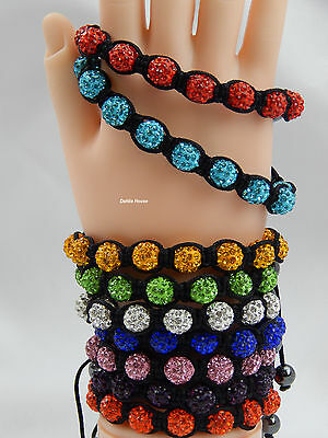 Crystal Shamballa Bracelet 9 Disco Clay Balls 10 mm Adjustable, No Metal