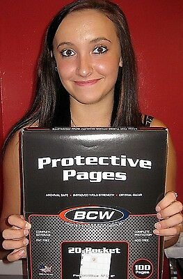 100 BCW PRO 20 Pocket Pages Sheets for 2X2 Coin Holder  Pogs  Slide Storage