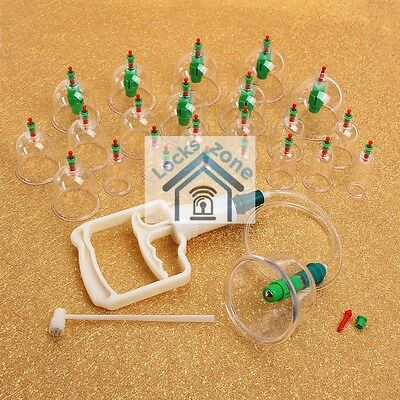 24 Cups Cupping Kit Pain Massage Sunnah Hijamah Therapy Pump 8 Magnets Suction