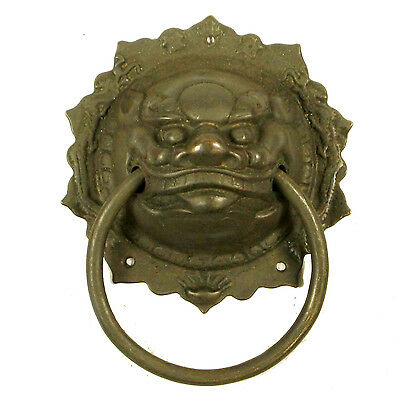 "Antique Style Chinese Brass Large Door Knocker 9"" X 7"" Lion Head Foo Fu Dog"