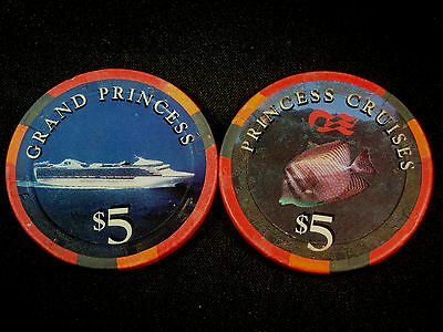 Princess Cruises GRAND PRINCESS $5 Casino Chip Blackjack Poker Roulette Craps