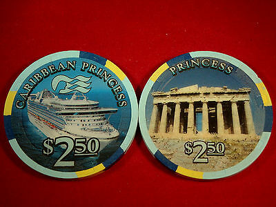 Princess Cruises CARIBBEAN PRINCESS $2.50 Casino Chip Blackjack Poker Roulette