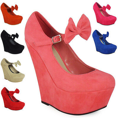 Sale! New Womens Ladies Mary Jane Bow Platform High Heel Wedge Party Shoes Size