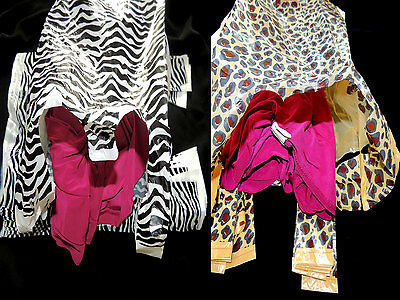 100 Zebra and Leopard Plastic T-Shirt Bags 8x5x16 Wholesale Animal WHandle Bags