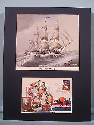The USS Delaware a 74 gun ship of the line & First Day Cover honoring Delaware