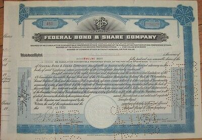 1930 Bank Stock Certificate: 'Federal Bond & Share Company'