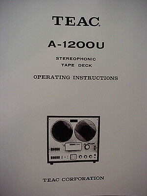 TEAC A-1200U TAPE DECK INSTRUCTION MANUAL 14 Pages