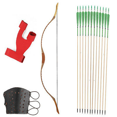 12 Pattern Green arrows Pigskin Hungarian style hunting 20-80LBS Recurve longbow