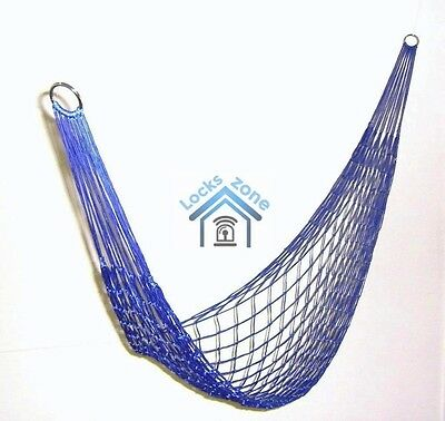 Garden Hammock Mesh Net Hang Rope Travel Camp Outdoor Swing Many Colours Quality