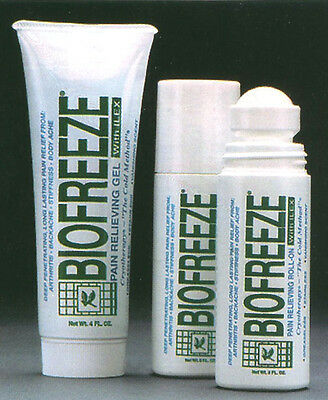 Biofreeze 3oz Roll on 4oz Tube Combo Pack Cold Therapy Cryotherapy Pain Relief