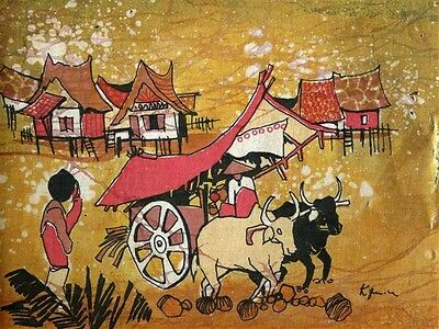 "Antique Thai Silk Painting …""Ox and Cart"" by K. Quinla..."