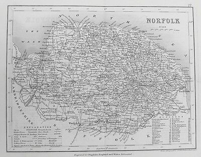 OLD ANTIQUE MAP NORFOLK by J ARCHER c1840's 19th CENTURY ENGRAVING