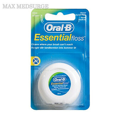 1x ORAL B Essential Dental Waxed Floss - 50m Length Mint Flavour, New Sealed