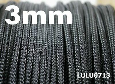 3mm Black Expandable Braided DENSE Cable Sleeve Cover x5m