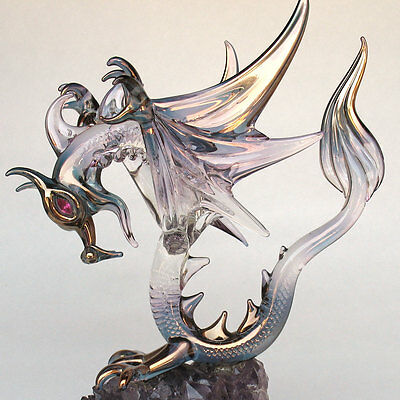 Dragon Figurine Winged Blown Glass on Amethyst Crystal