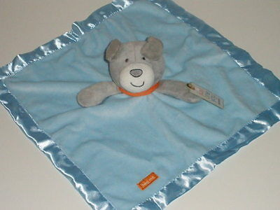 NWT Carters Just One You Year Hug Me Blue Grey Puppy Dog Security Blanket Rattle