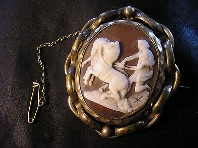 Beautiful Victorian Rare Quality Classical Mythological Horses Cameo Brooch