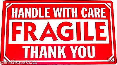 500 2x3 FRAGILE HANDLE WITH CARE LABEL FREE SHIPPING