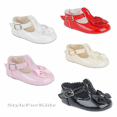 Baby Girls Patent Pram Shoes In Pink,red,black,ivory,white Christening/party