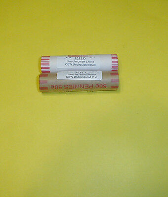 2 roll set of 2013 P & D Lincoln Penny Union Shield Cents *** Free Shipping ***