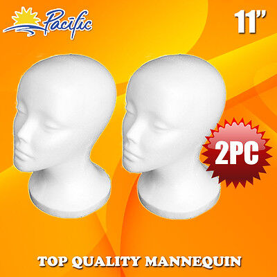 "2 PCS 11"" STYROFOAM FOAM MANNEQUIN MANIKIN head wig display hat glasses"