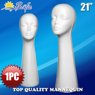 "1PC 21"" STYROFOAM FOAM MANNEQUIN MANIKIN head display wig hat glasses"