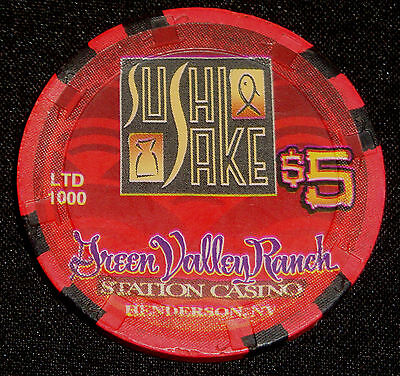 Green Valley Ranch $5 Station Casino Chip Limited Edition Sushi Sake ChinaSpice