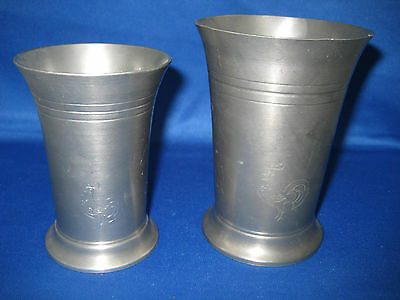 """4.5 """", 4 """" Lot  2 Antique West German Solid Pewter Roosters Cups Hand Made"""