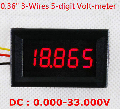 4-1/2 (4.5) Digit Volt meter Panel Counter Red LED DC 0 to 33V 4-Wires Display