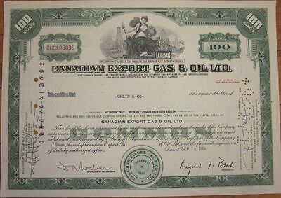 1966 Stock Certificate: 'Canadian Export Gas & Oil Co., Ltd.'