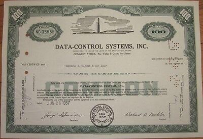 1967 Stock Certificate: 'Data Control Systems, Inc.' - Green