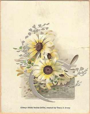 Victorian Trade Card-Sarica Coffee-Tracy & Avery-Mansfield, OH-Scythe-Daisies
