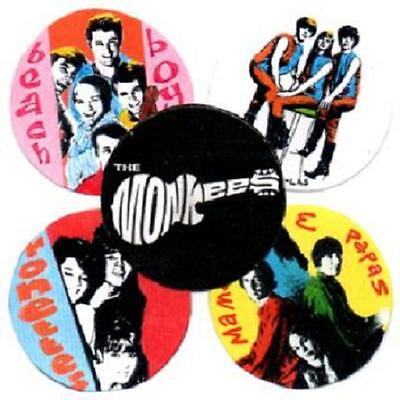 5  60's  POP BADGES. SHANGRI LAS, RONETTES, BEACH BOYS, MONKEES, MAMAS & PAPAS.