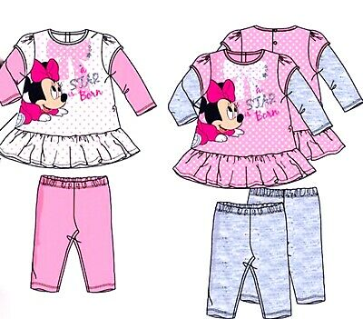 Baby Girls MINNIE MOUSE Disney Character Top-Leggings Outfit Sets 6-12-18-23mths
