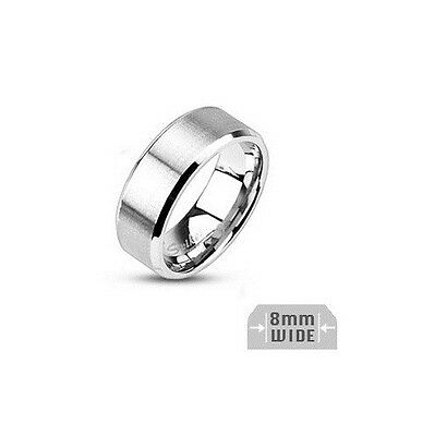 Mens Bridal Wedding Engagement Ring Band 8mm Stainless Steel Sizes 9 - 14.5