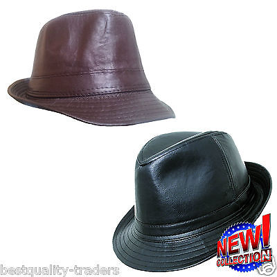 Mens Ladies Kids Retro Black Leather Look Trilby Hat  Five sizes Fast Dispatch