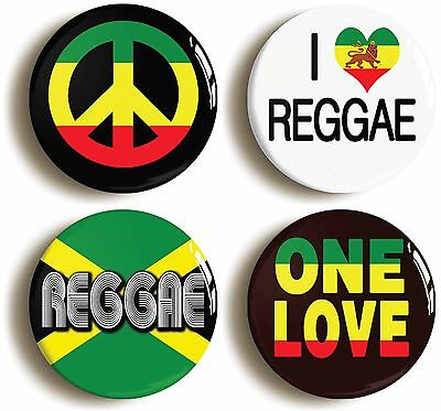 4 x REGGAE BADGE BUTTON PINS (1inch/25mm diameter) RASTAFARIAN JAMAICA