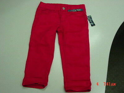 NWT Girls Faded Glory Red Capri Pants Jeans Trendy Stylish