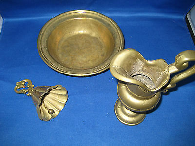 3 Antique West  German Heavy Solid Brass Pitcher/Bowl & Bell  weigh 2.8 LBS Nice