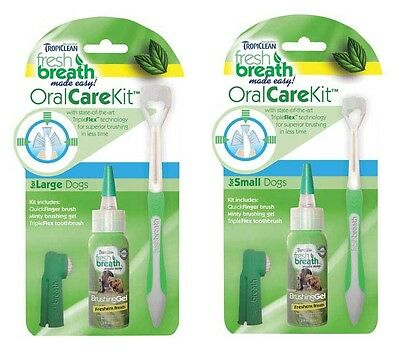 Tropiclean Fresh Breath Dog Oral Care Kits Fight Tartar Plaque Bulk Available!