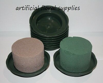 2 items! JUNIOR bowl trays GREEN with WET or DRY cylinders foam oasis weddings