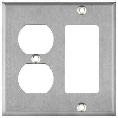 Stainless Steel 2 Gang Duplex & Rocker Combo Wall Switch Plate Outlet Cover