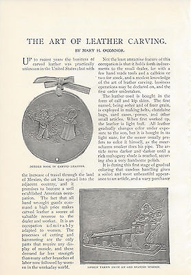 1899  The Art of Leather Carving vintage magazine article