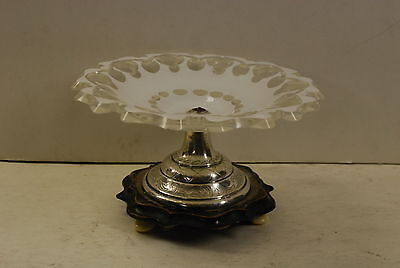 small glass overlay-sterling-wood candy compote Netherlands 1814-1953 mark