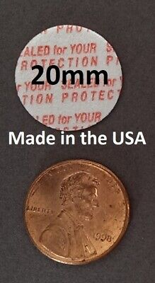 20mm Press & Seal Cap Liners ~ Foam Safety Tamper Seals ~ Made in the USA