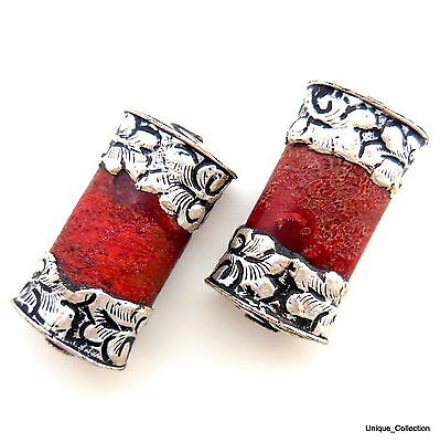 BD-57 Handmade Nepalese Ethnic tribal Tibetan Silver Capped Coral Two Beads